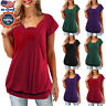 Womens Plus Size Loose Short Sleeve Solid Color Tunic Top Pleated Blouse T-shirt