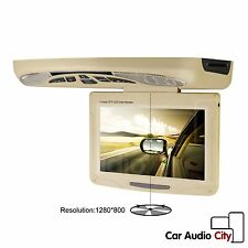 """XTRONS Car Roof Mounted Flip Down DVD Player 11.3"""" Rotating Screen Games Beige"""