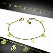 Cut Stainless Steel Golden/Chain Che Bracelet With Charms In Leaves