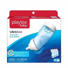 Playtex Baby VentAire Anti-Colic,Air Free, Semi Upright Feeding, 9 oz, 3 Count
