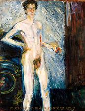 "Nude Man Self Portrait with Pallete 8.5x11"" Photo Print, Richard Gerstl Naked"
