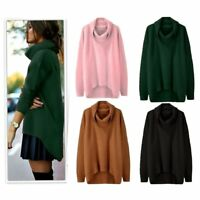 Women Winter Knitted Jumper Sweater Tops Pullover Knitwear Long Dress VU