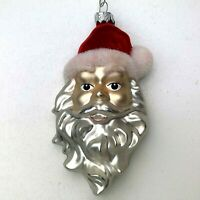 Vintage Glass Santa Head Face Christmas Ornament Red White Silver