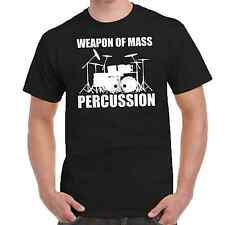 Men's Tee T Shirt Weapon of Mass Percussion Drums Music Rock Funny Humor drummer