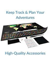 World Map Scratch Off  Travel Tracker Poster with Push Pins Gift Eraser Safety