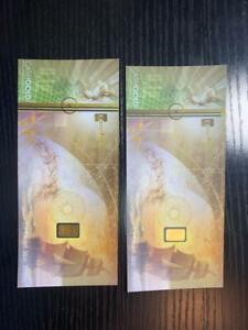 (QTY 2) 1/10 GRAM GOLD BARS 999.9 24 K BULLION KARATBARS KARATPAY CASHGOLD; B2