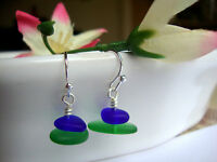 Cobalt Blue Emerald Green Surf Tumbled SEA GLASS Silver Dangle Earrings USA MADE