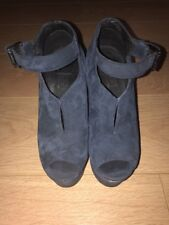 Topshop Navy Blue Suede Wedges Size 4