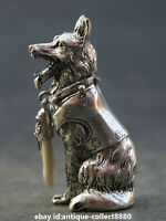 """3.1"""" Collect Chinese Miao Silver Zodiac Animal Dog Wolfhound Wealth Small Statue"""