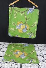 2 Linen Floral Pillow Shams Zipper Closure 18 x 18 Green Yellow Blue Cottage