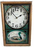 Vintage Verichron Quartz Duck Wall Clock Wood Hanging Man cave Hunting