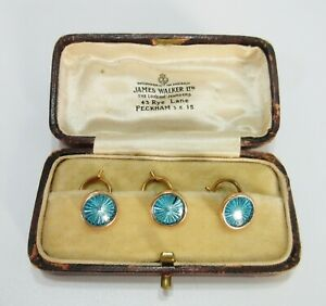 Antique Guilloche 9K Gold Dress Buttons Original Case James Walker