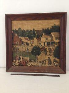 Vtg Kay Dee 100% Pure Linen Handprints 16x16 Wood Frame Colonial Farm Artwork