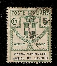 Regno.V.E.III.1924.Franchigia.Enti Parastatali.5c verde usato