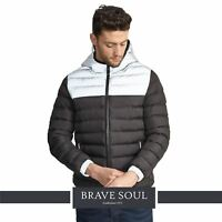 Mens Brave Soul Colour Block Padded Quilted Puffer Reflective Jacket Hooded Coat