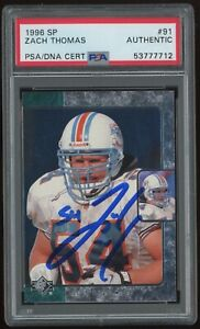 ZACH THOMAS Signed 1996 UD SP Rookie Football Card #91 PSA Auto Miami Dolphins