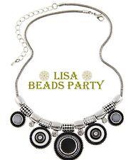 Fashion Charm Jewelry Pendants Alloy Circles Chain Bib Necklace Black
