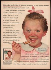 Vintage magazine ad KELLOGGS CORN FLAKES from 1954 little girl Norman Rockwell