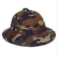 Vintage U.S. Style Pith Safari Jungle Helmet Woodland Camo - Explorer Hat NEW!!