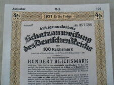 1937 Nazi German Treasury Bond-100 Reichsmark Bond-Swastika Seal