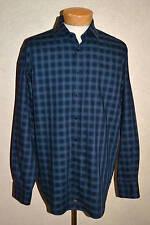 $120 Thomas Dean XL Black w/Royal & Gray Check Shirtmaker's Cloth Cotton Shirt