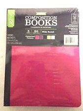 Composition Notebooks 80 Sheets Wide Ruled Poly Cover Asst. Colors 5 Count Set