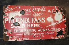 1930 PHOENIX ANTIQUE ART DECO AC DC ELECTRIC CEILING FAN VINTAGE PORCELAIN SIGN