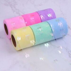 25 yards Bronzing Crown Print Organza Ribbons DIY Craft Accessories Decor Ribbon