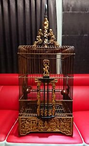 Vietnam Handmade Bamboo Bird Cage With Wood Cup