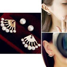 1 Pair Crystal Faux Pearl Earrings Women Girl Lovely Ear Stud Ear Cuff Nail WT7n