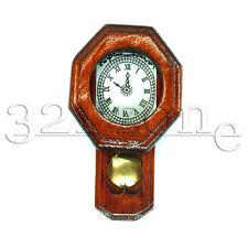 Wooden Dollhouse Miniature Pendulum Clock Mantel Clocks Wall Decoration 1:12
