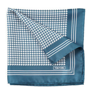 New $180 TOM FORD Teal Blue-Green Houndstooth Check Print Silk Pocket Square