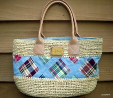 authentic Tommy Hilfiger straw/quilted blue BEACH PURSE handbag wood-logo-plate