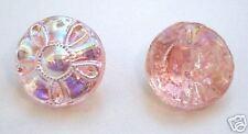 Glasknopf aus Gablonz/Böhmen, Rosa AB veredelt 12mm - k091