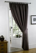 "Thermal Blackout Blockout Pencil Pleat Tape Top Door Curtain 66"" x 84""+ TIE BACK"