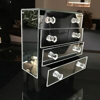 4 Drawer Mirrored Glass Jewellery Box Mirrored Jewellery Organiser Box Trinket