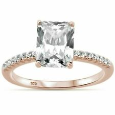 Radiant & Round 2.50ct solitare Cz Rose Gold Plated 925 Sterling Silver ring