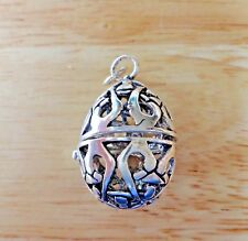 Sterling Silver 3D 32x22mm large Movable Cut/out Easter Egg Charm