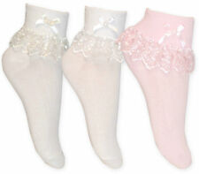 Girls Cream White Pink Jester Frilly Lace Ankle Socks 1 Pair,  3 Or 6 Pairs New