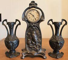 Garniture de Cheminée Horloge aux oiseaux Etain argenté Art Nouveau