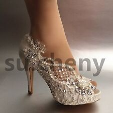 """3"""" 4"""" heel crystal white ivory silk lace open toe Wedding shoes Bride size 5-11"""