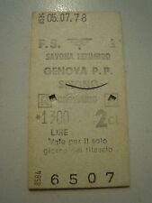 BIGLIETTO DEL TRENO CARTONATO - SAVONA LETIMBRO GENOVA - 1978 C10-301