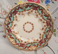 Antique Davenport Dessert Cabinet Plate c1850 Turquoise & Pink Ribbons VGC