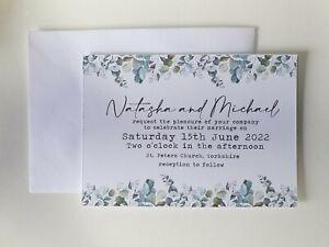 10 Wedding/Evening Invitations Invites Handmade & Personalised Eucalyptus Leaf