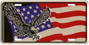 PATRIOTIC AMERICAN EAGLE USA FLAG EMBOSSED METAL LICENSE PLATE AUTO CAR TAG #416