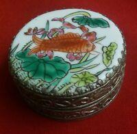 Vintage Koi Gold Fish Chinese Silver Compact Mirror Powder Box Trinket