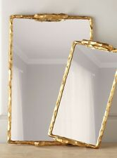 One Kings Lane Neiman Marcus Chisled Frame gold Mirrored Glass Tray New