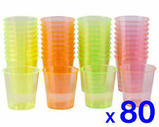 80 Disposable Plastic Neon Coloured Party Jelly Shot Glasses Cup