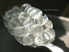 Glass Beads, 10mm Clear Beads, 10 Clear Glass Rondelles
