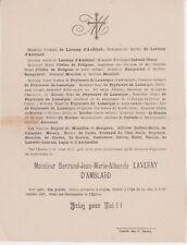 *1897 Faire-part décès Bertrand-Jean-Marie-Alban de LAVERNY d'AMBLARD.